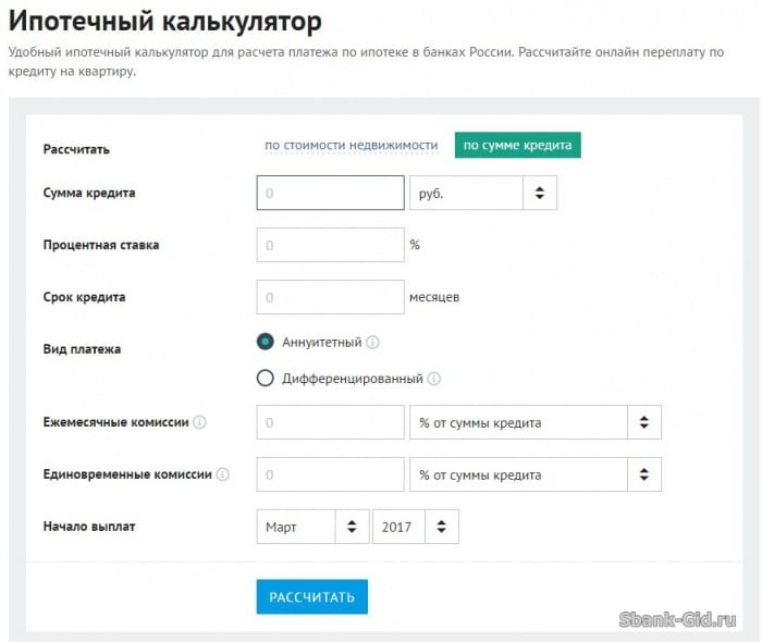 онлайн калькулятор расчета кредита сбербанк
